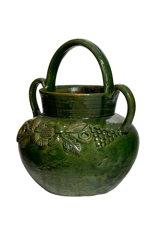 Jarrón cerámica Mexicana verde con asas