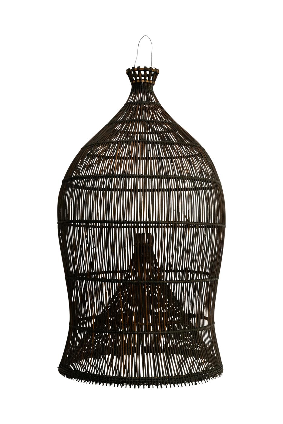 Lámpara estilo camaronera Bali negra mediana