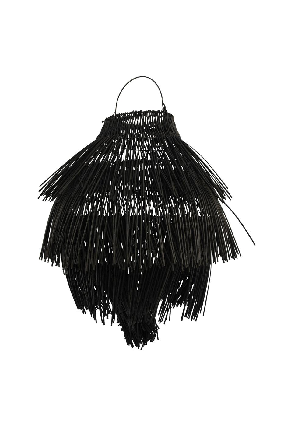 Lámpara colgante en rattan con flecos, negra