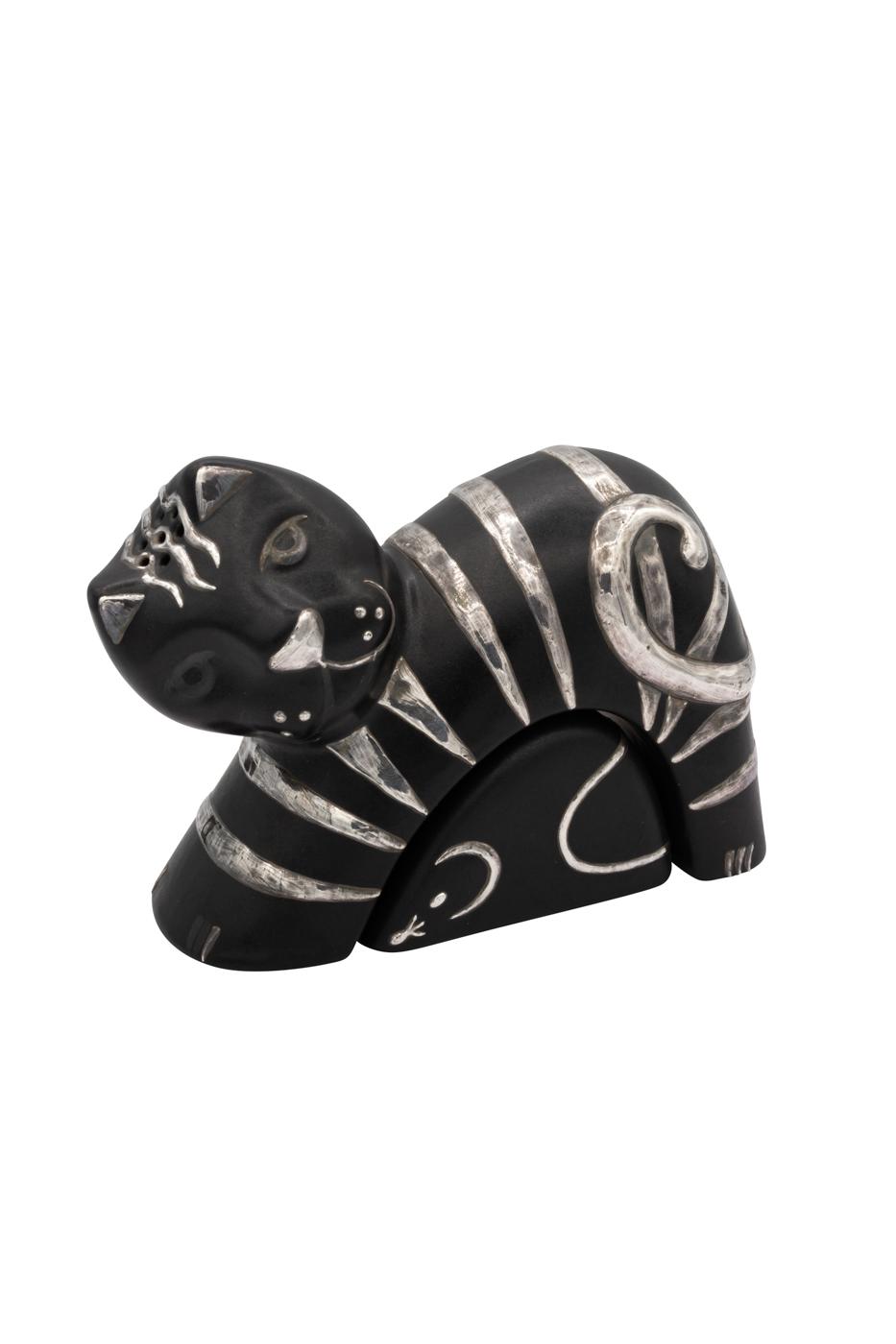 Set salero y pimentero cerámica y plata Gato negro