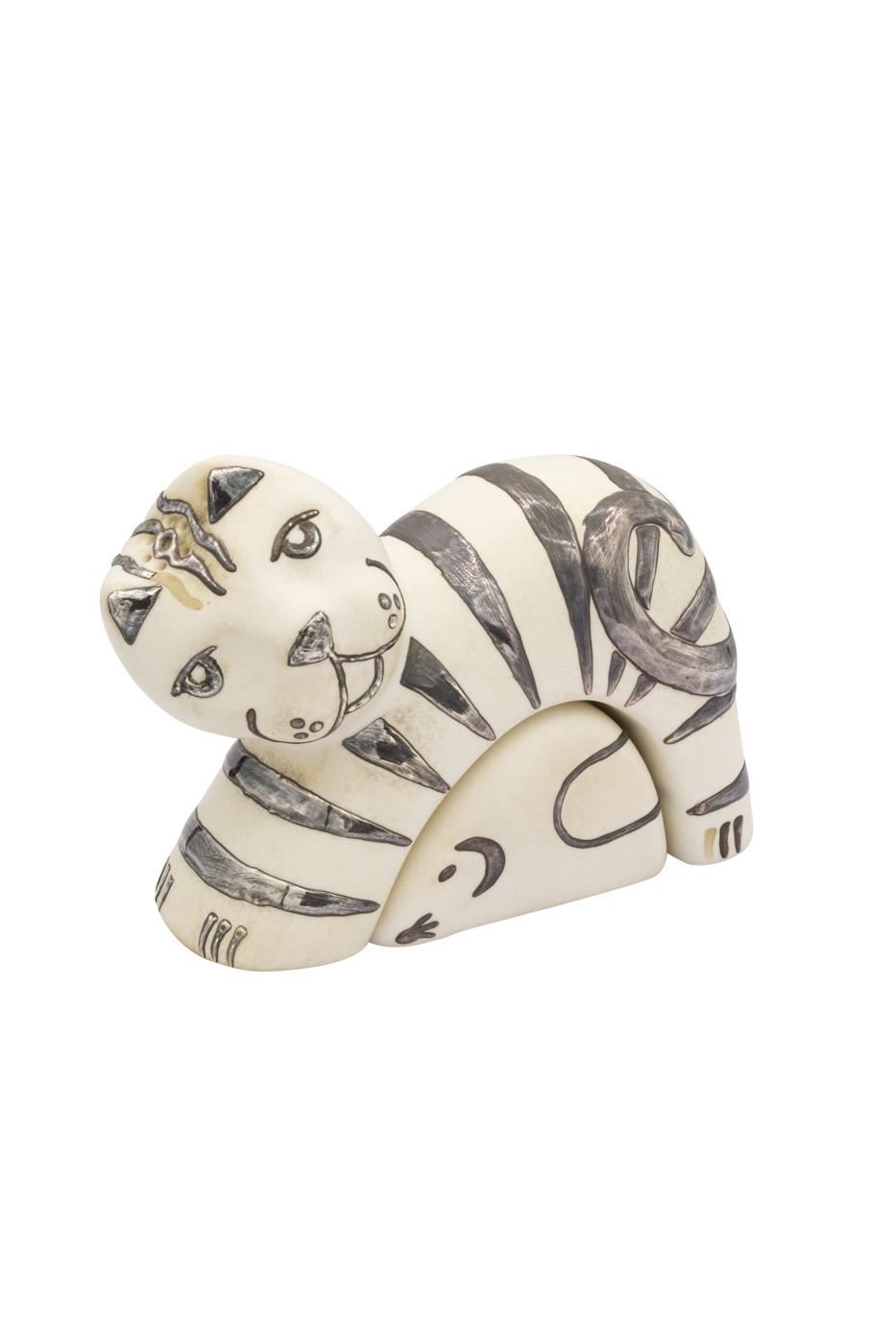 Set salero y pimentero cerámica y plata Gato blanco
