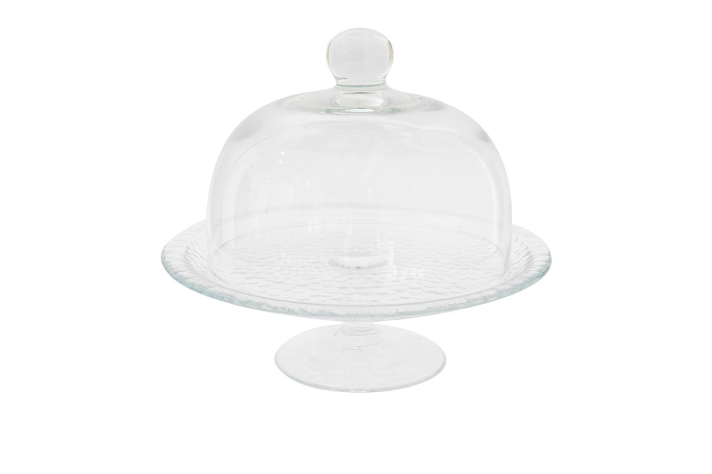 Soporte de vidrio para pasteles con tapa