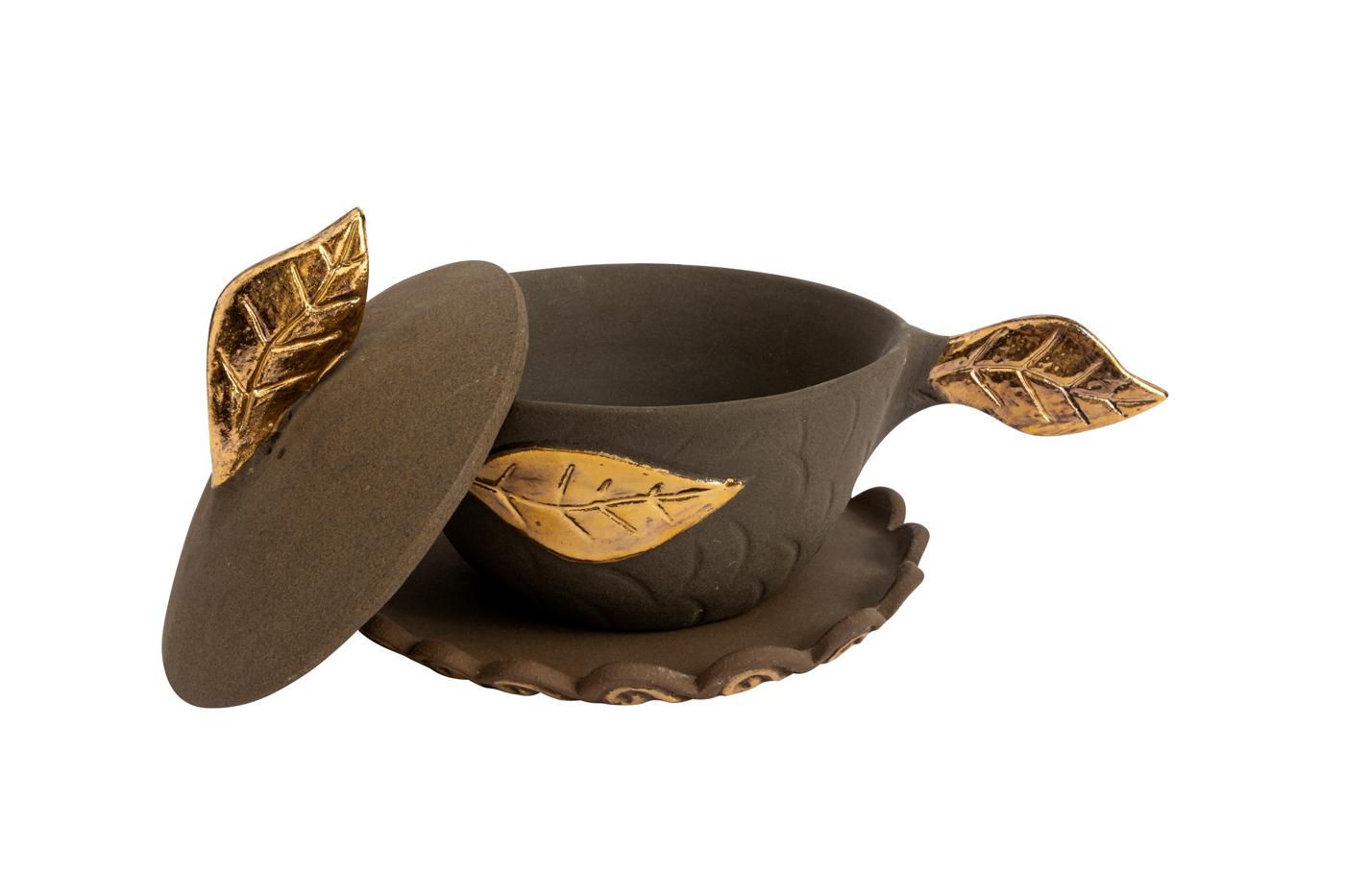 Bowl decorativo en barro con tapa