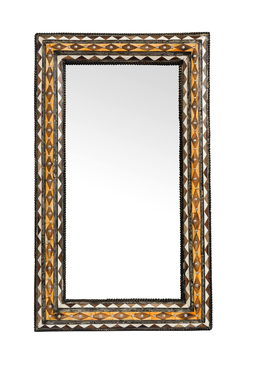 Espejo tradicional Marroquí diamantes café