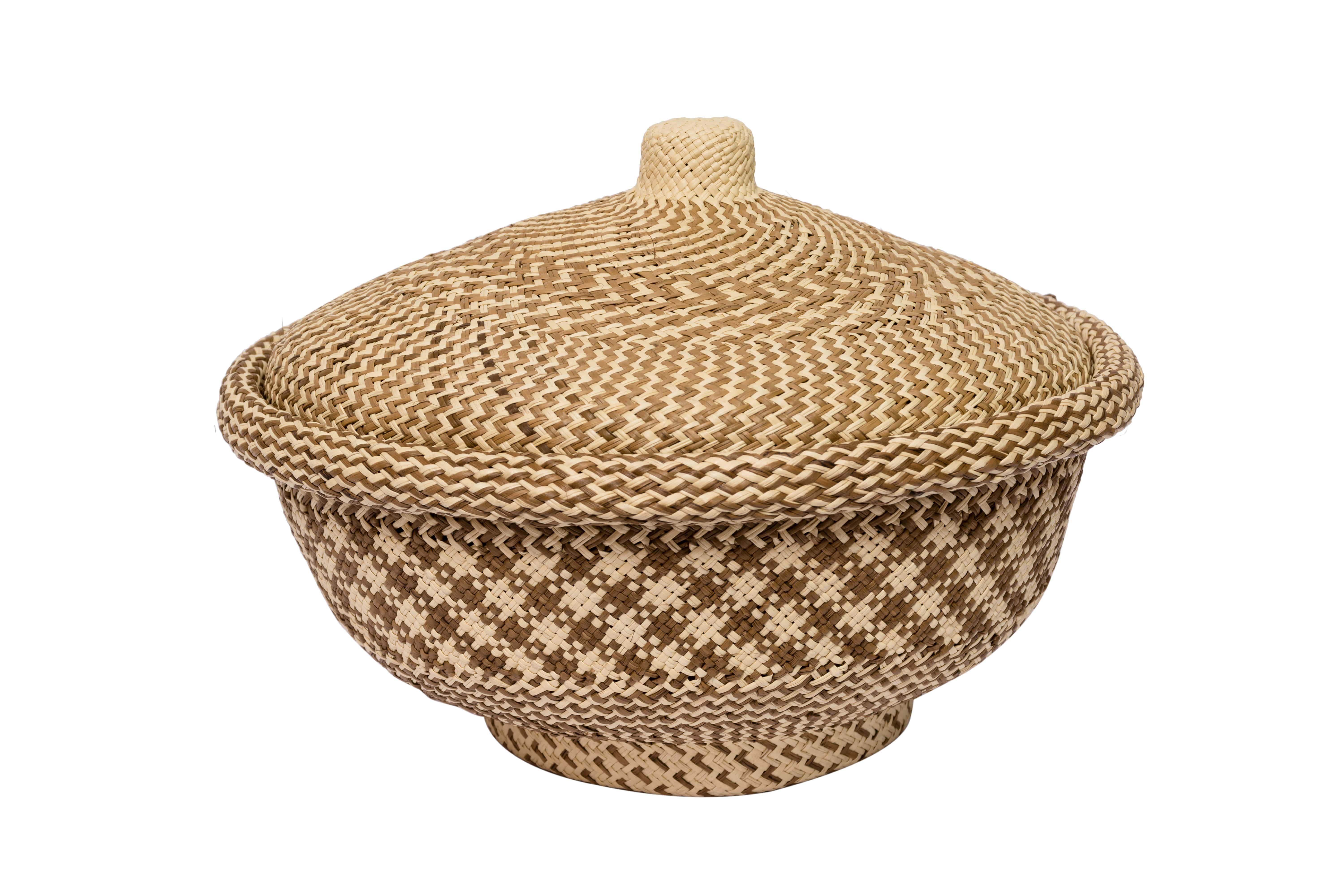 Bread basket in iraca brown-natural