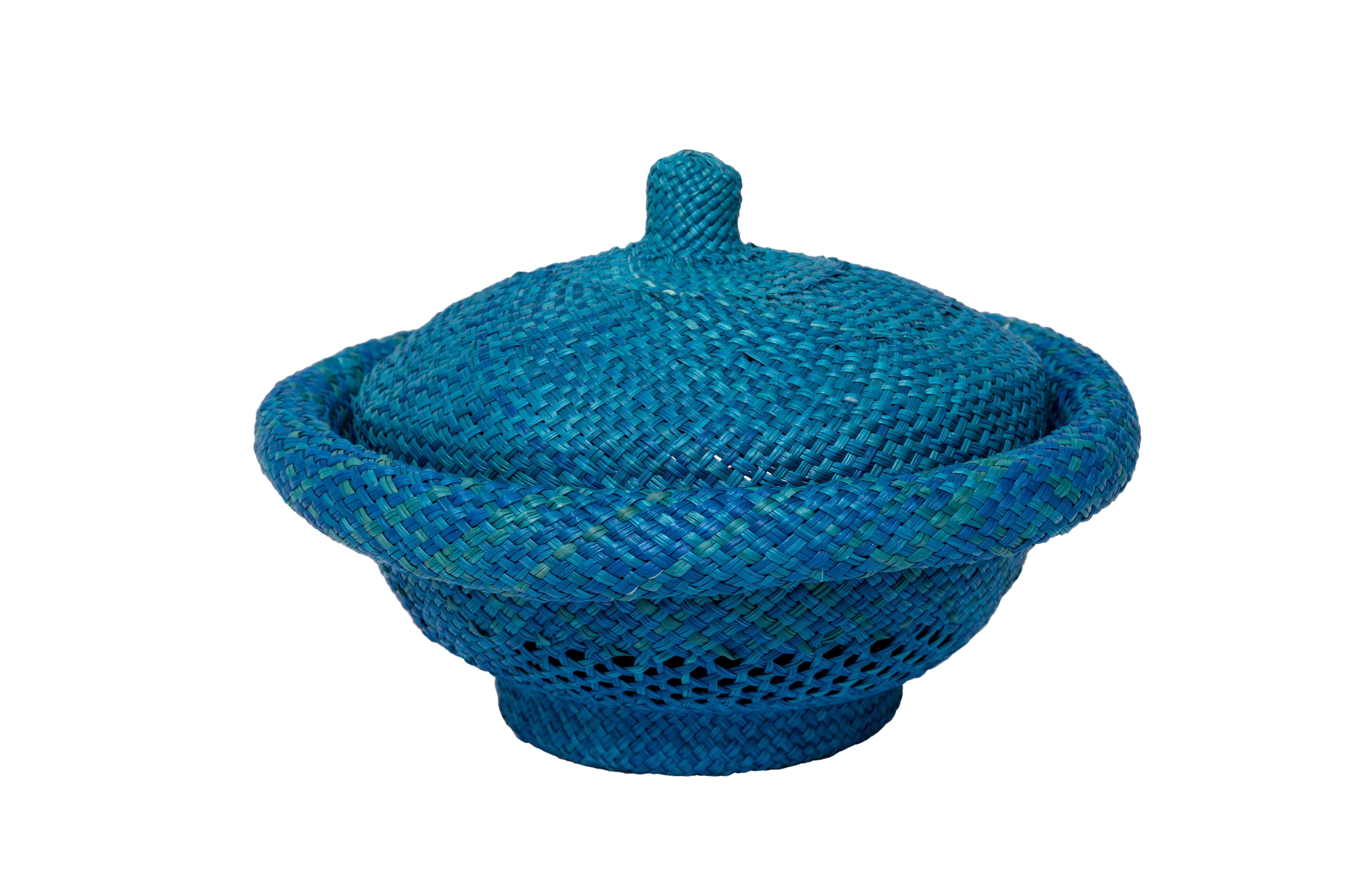 Bread basket in  iraca blue