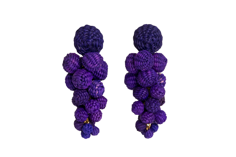 Iraca palm drop earrings purple