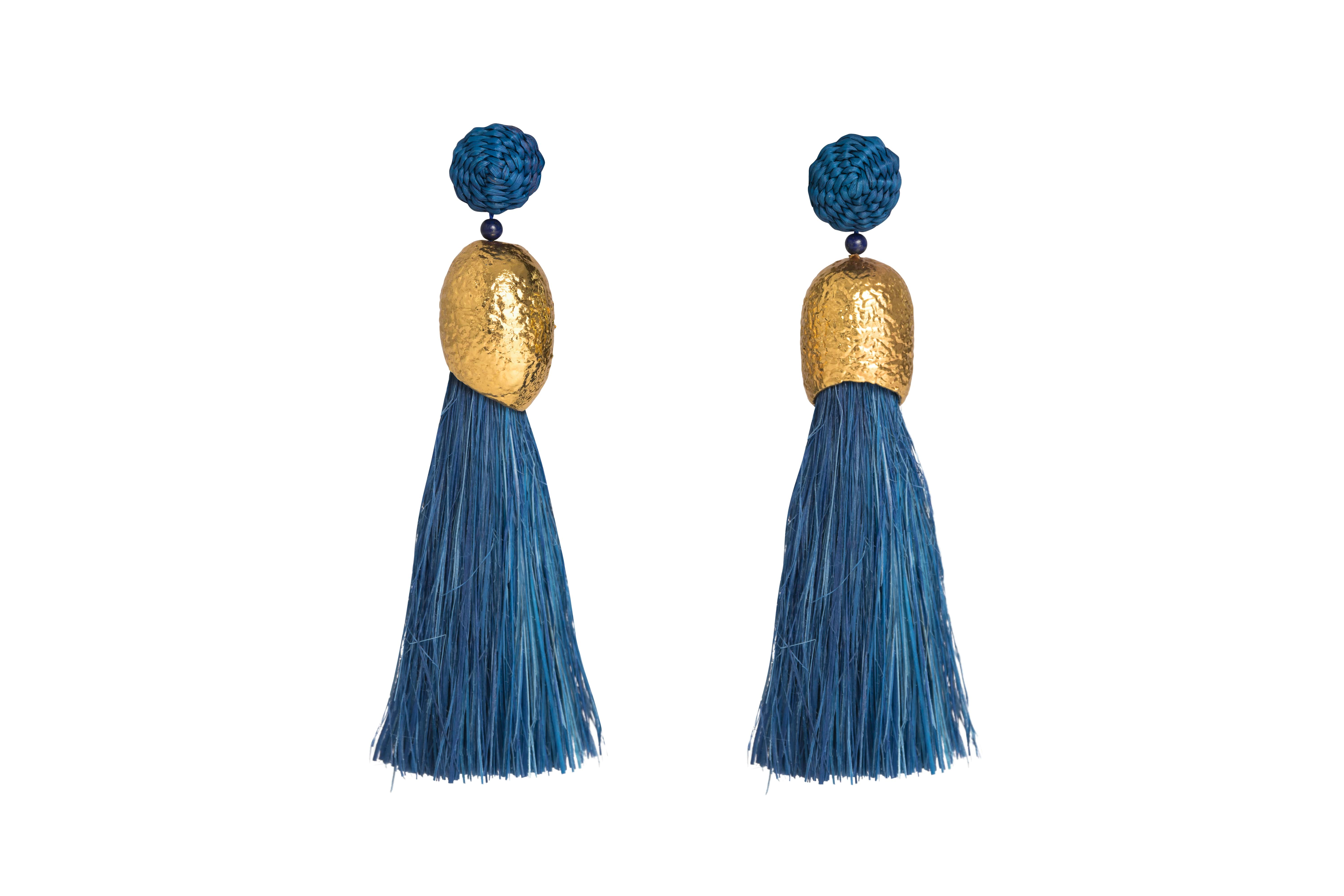 Earrings worms and blue jean fringes