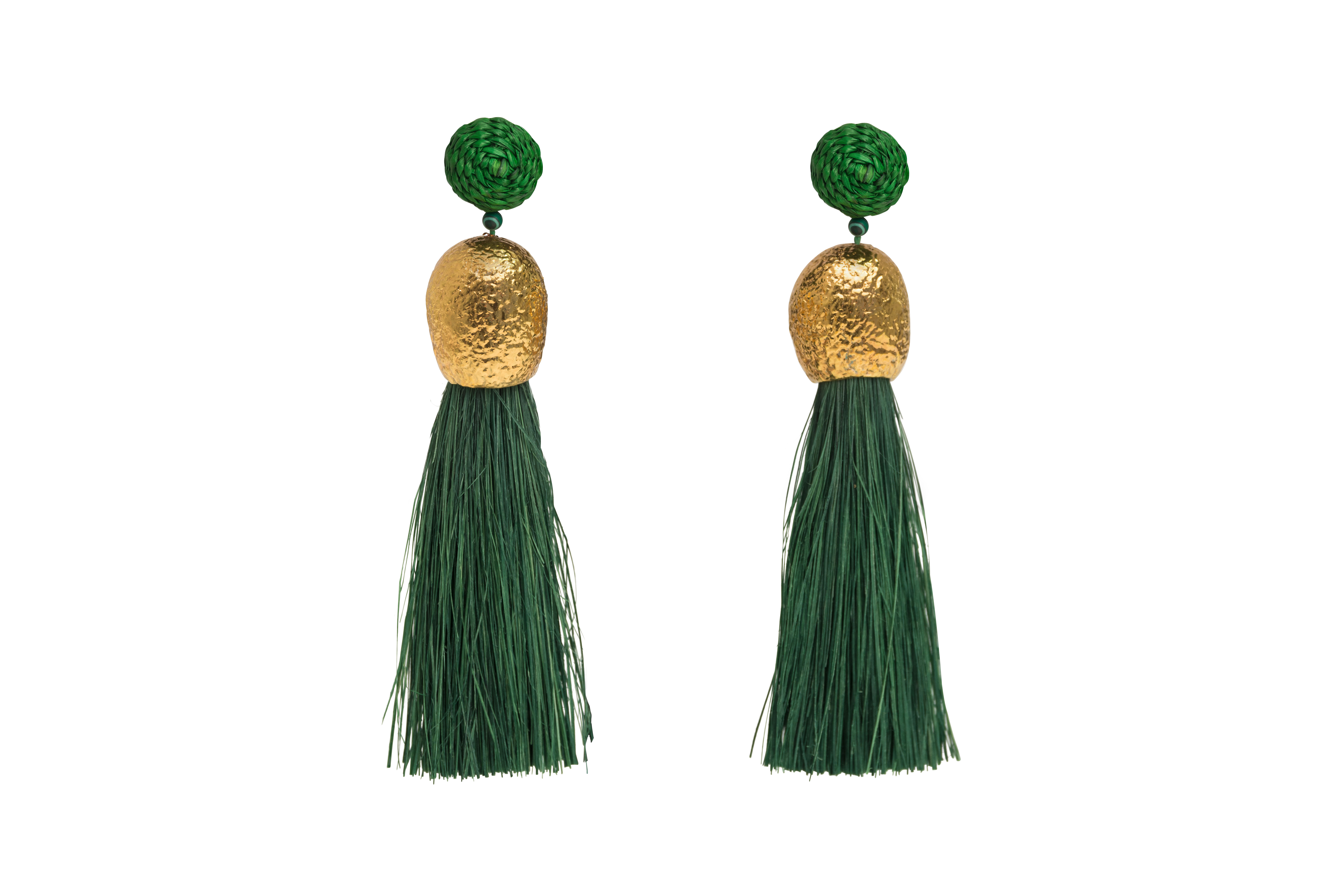 Earrings worms and olive green fringes