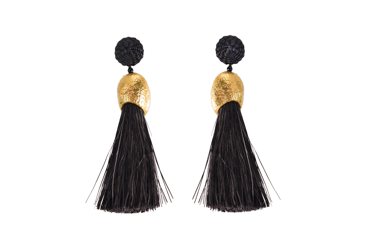 Earrings Worms and fringes black