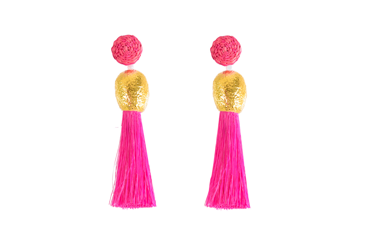 Earrings worms and fuchsia fringes
