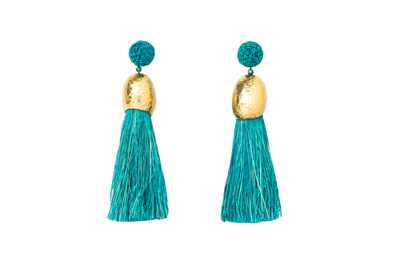 Earrings worms and turquoise fringes