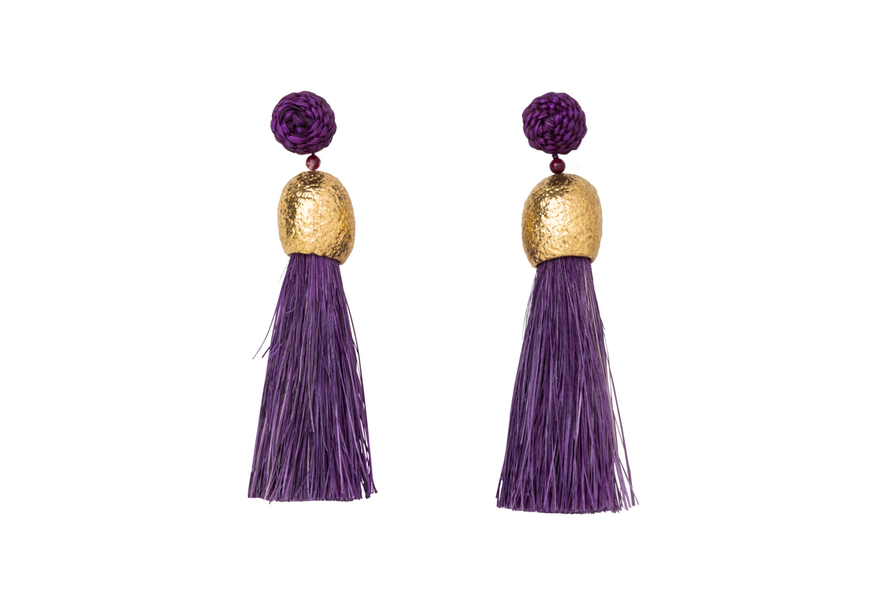 Earrings worms and purple fringes