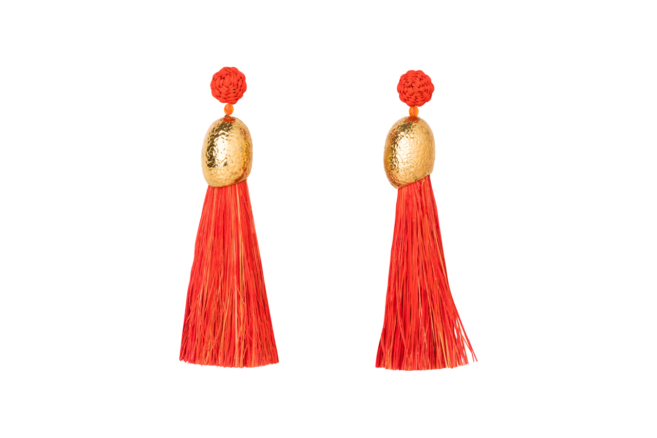 Earrings Worms and fringes orange