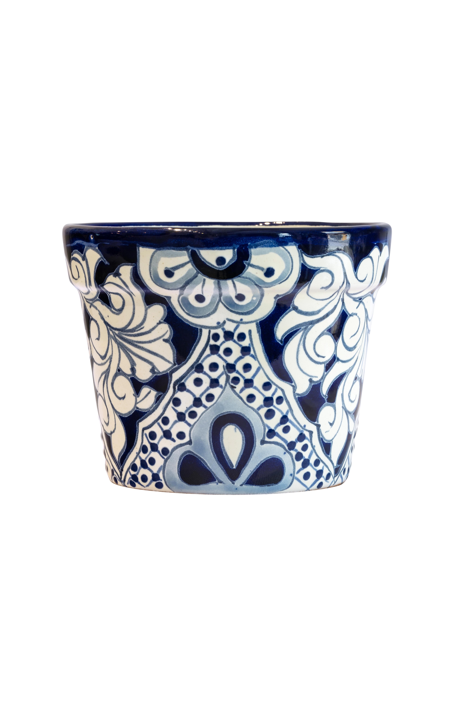 Matera en cerámica Talavera pequeña blanco-azul