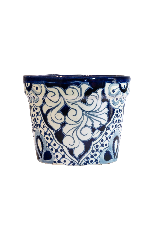 Pot in ceramic Talavera small blue-white