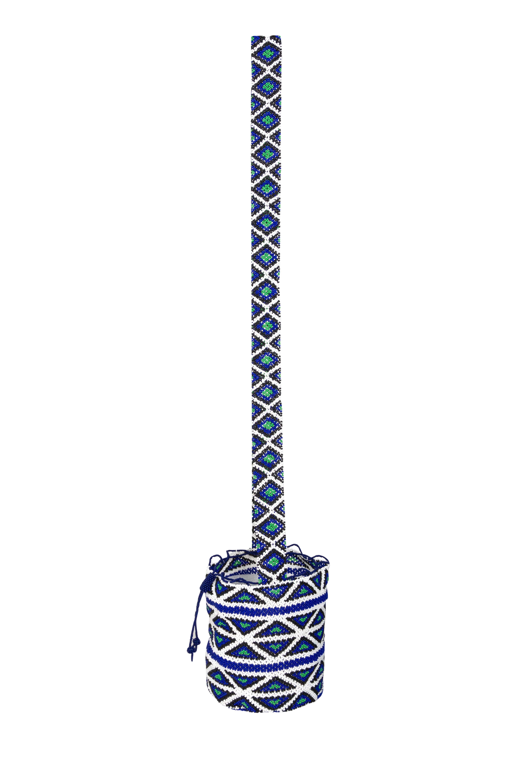Mochila mostacilla Emberá Katio azul-blanco
