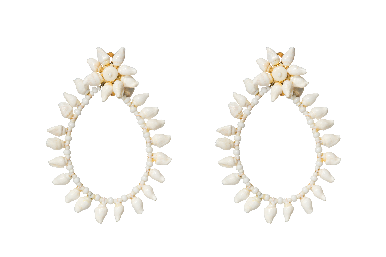 Mini seashell large drop earrings natural