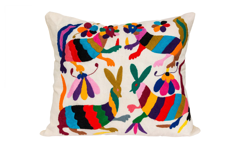 Otomí Rabbits multicolored cushion