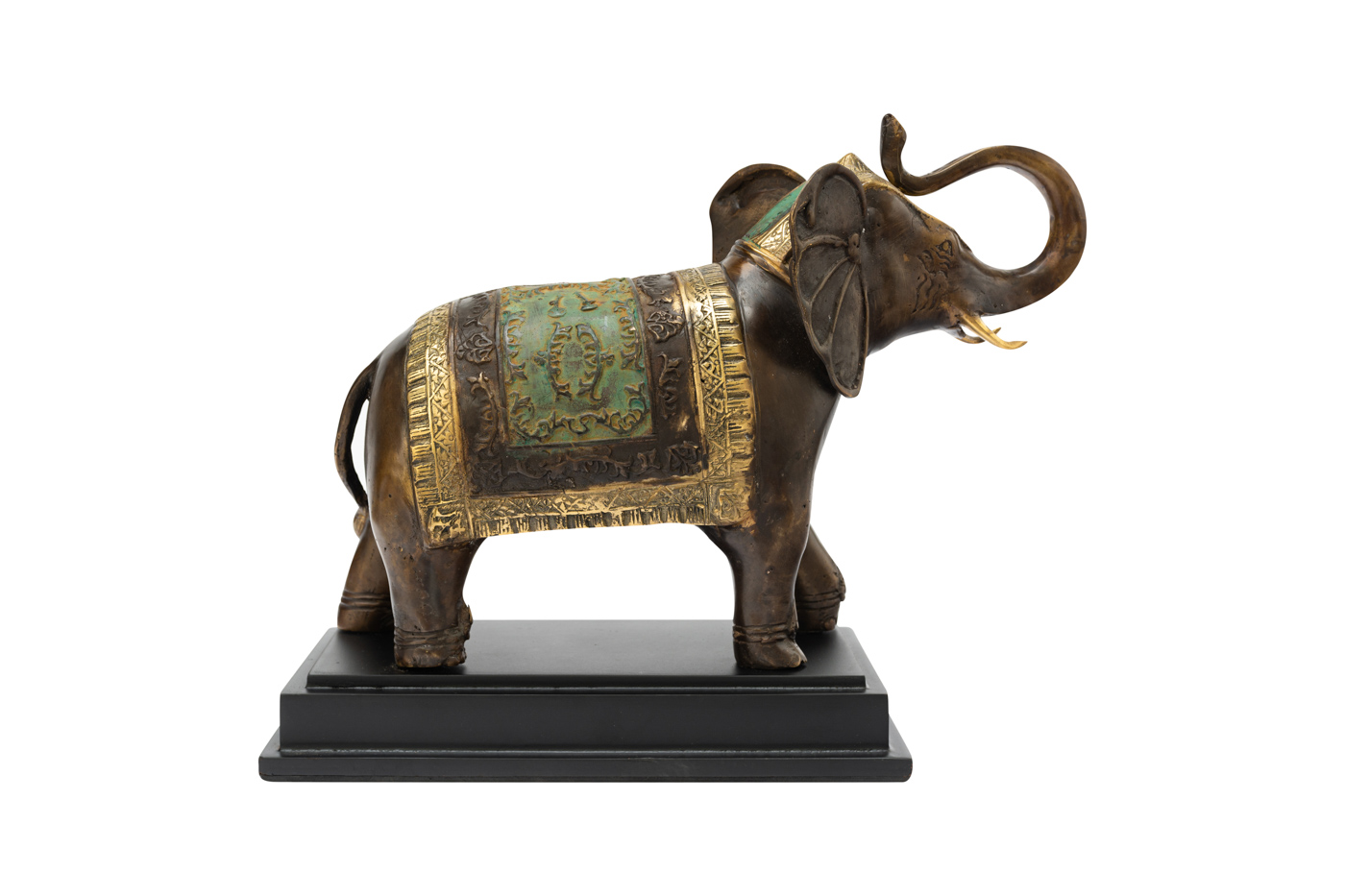 Elefante decorativo en bronce base madera