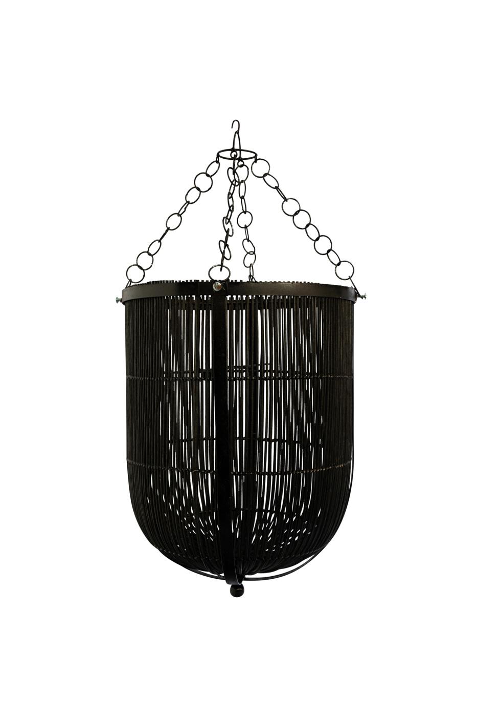 Lámpara colgante en rattan y metal-negra