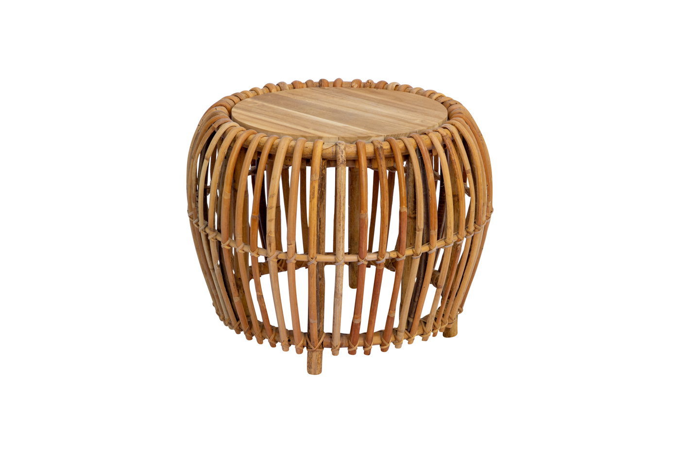 Bean round side table in rattan