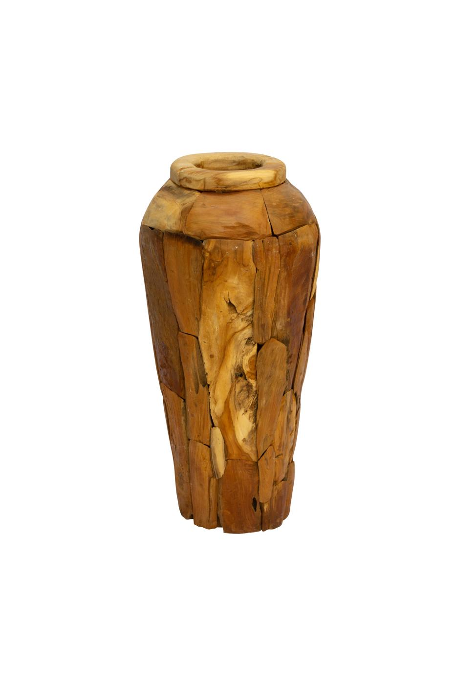 Erosi floor vase in recycled teak wood, 80 Cm
