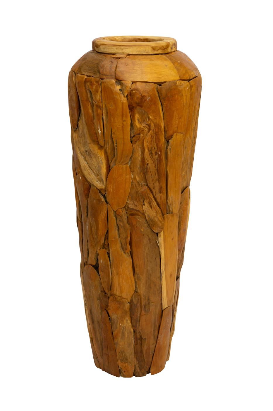 Erosi floor vase in recycled teak wood, 120 Cm