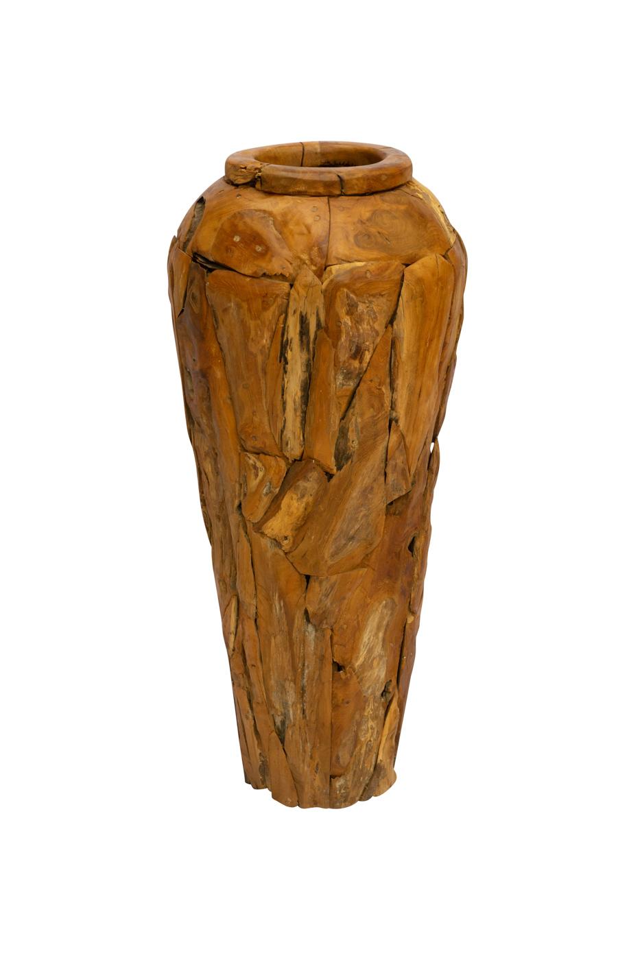 Erosi floor vase in recycled teak wood, 100 Cm