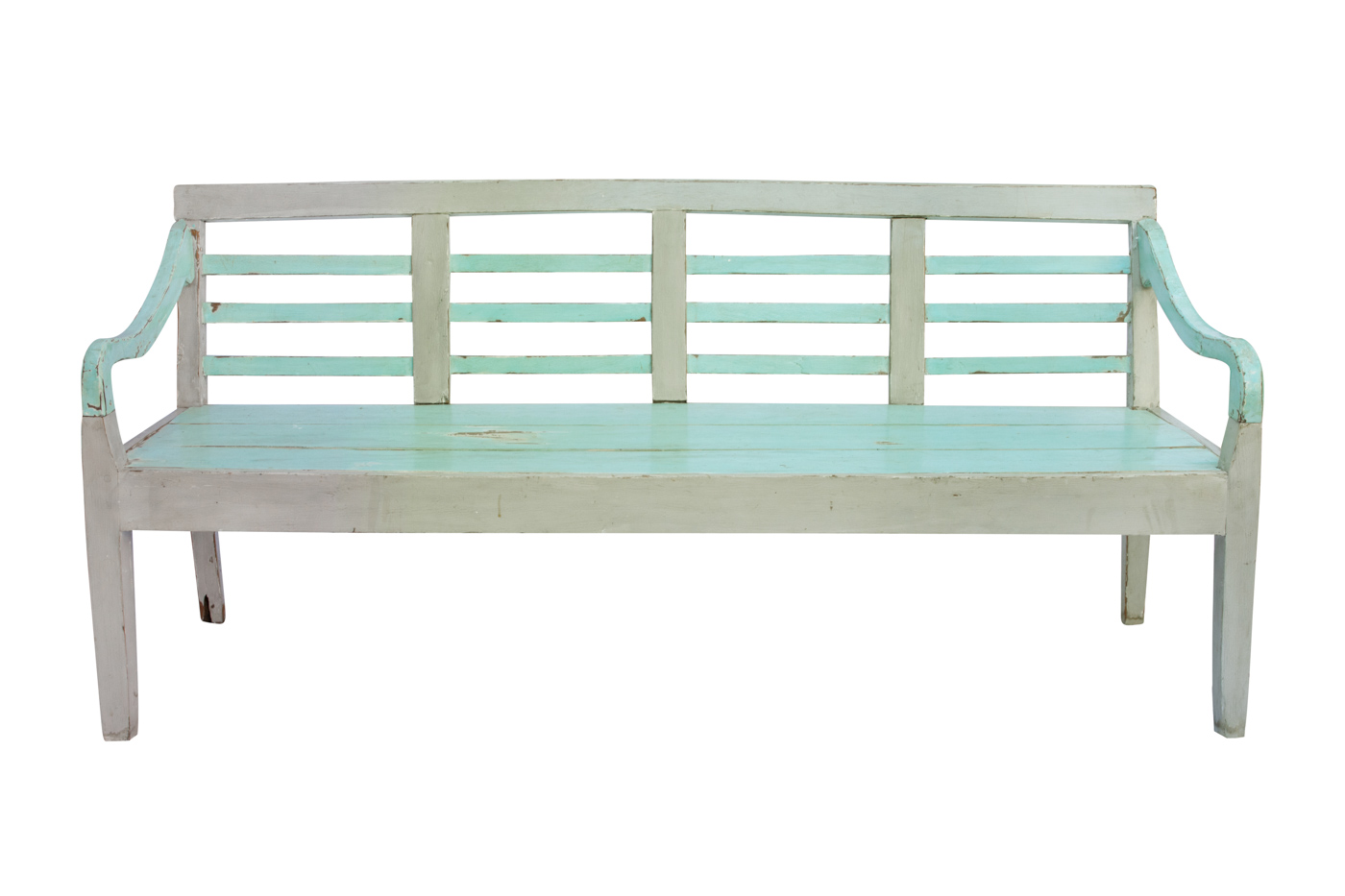 Balinese bench carved in light green wood, 189 Cm