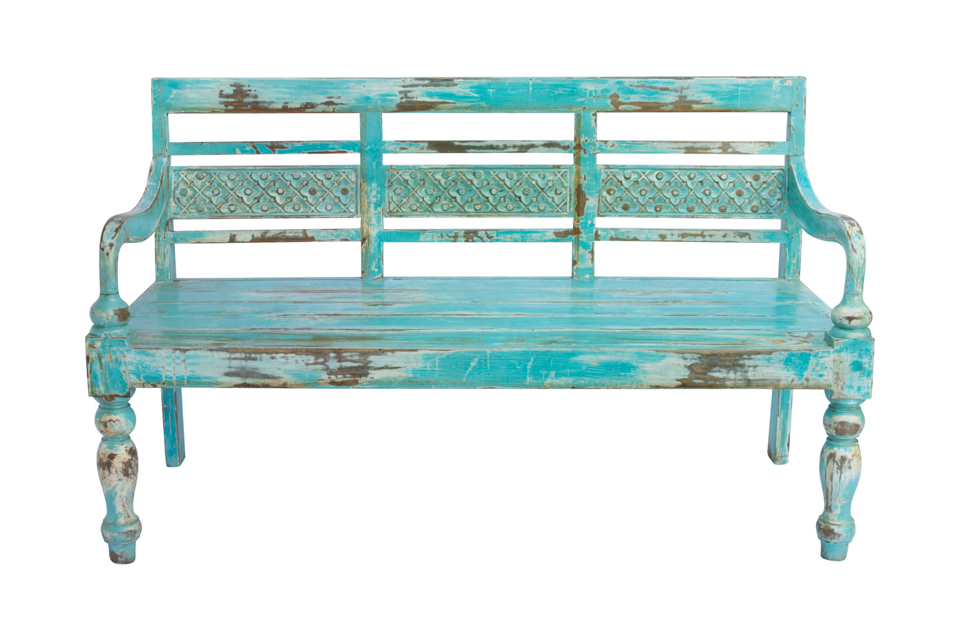 Balinese carved bench mint green, 147 Cm