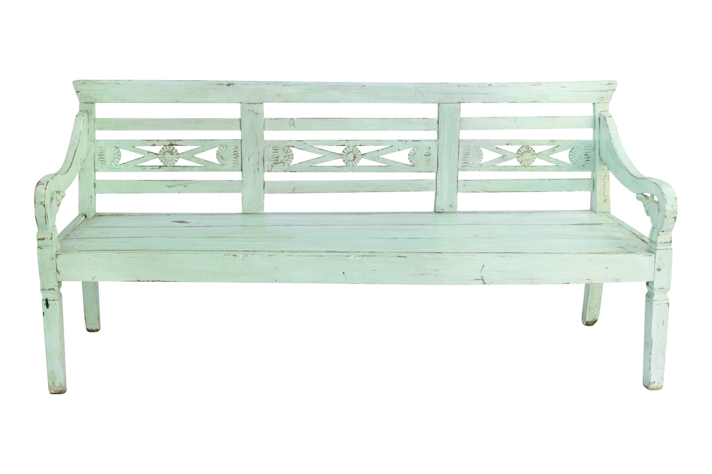 Balinese bench carved in light green wood, 187 Cm