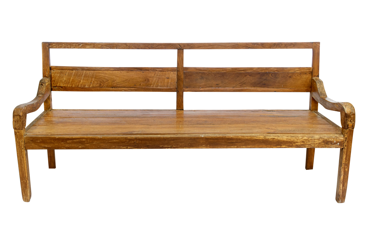 Balinese bench carved in brown wood, 90 Cm