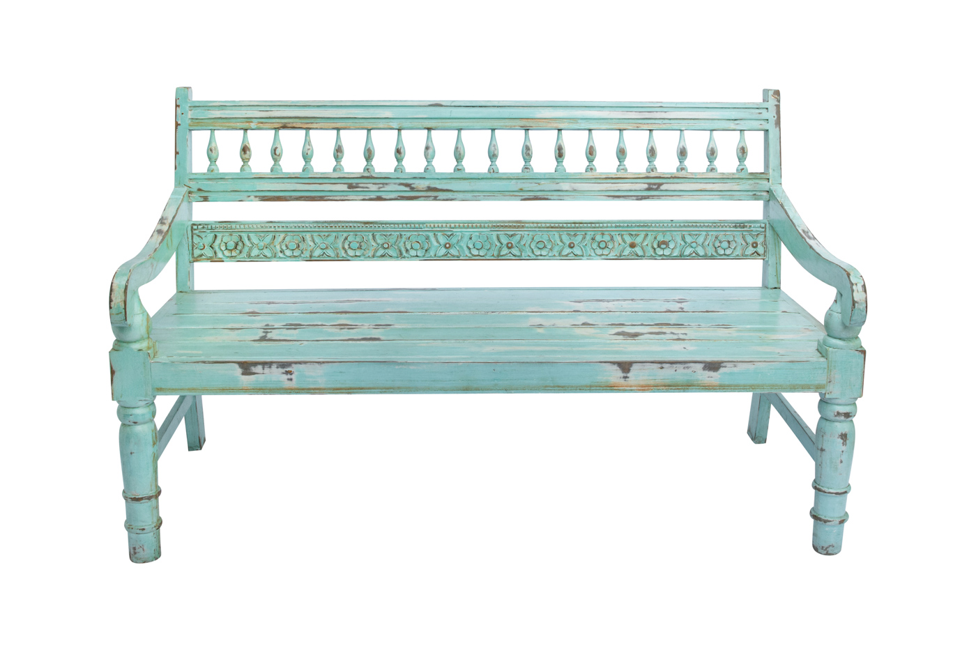 Balinese bench carved in mint green wood, 91 Cm
