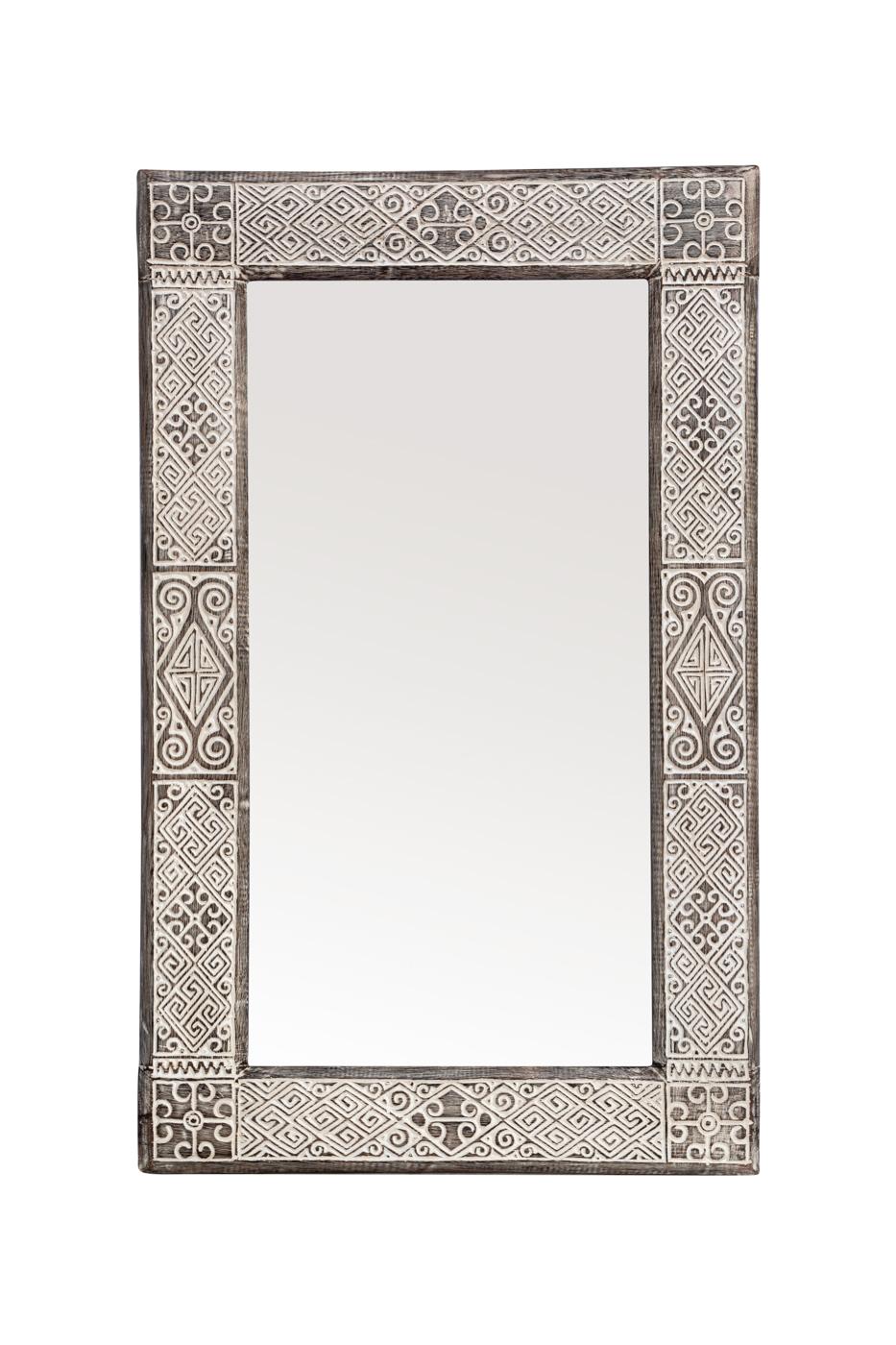 Espejo Timor tallado en madera-whitewash