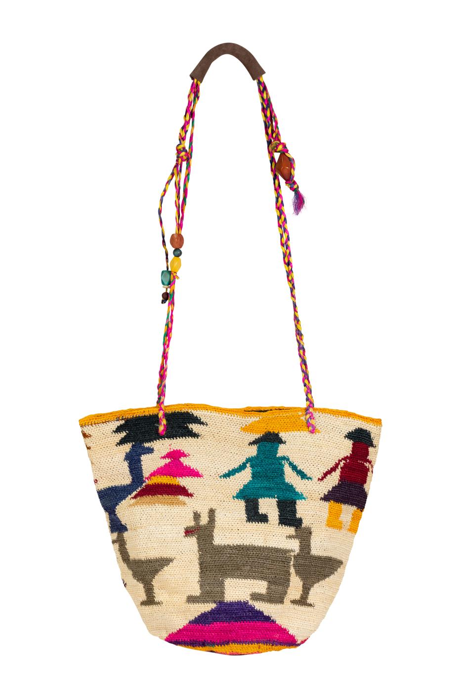 Mochila Shigra figuras étnicas multicolor