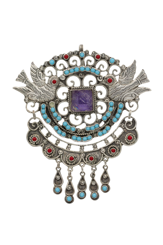 Brooch in silver doves
