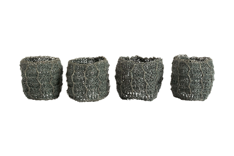 Set servilletero en hilos de metal