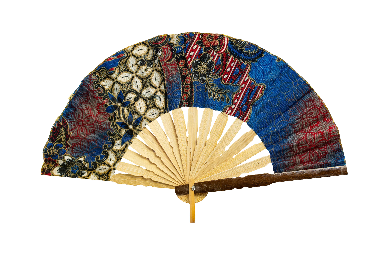 Blue hand fan