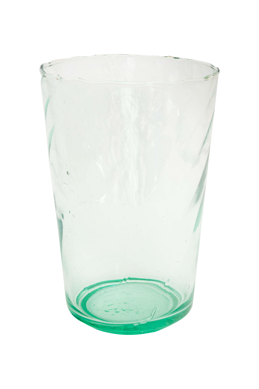 Jarrón artesanal de cristal verde
