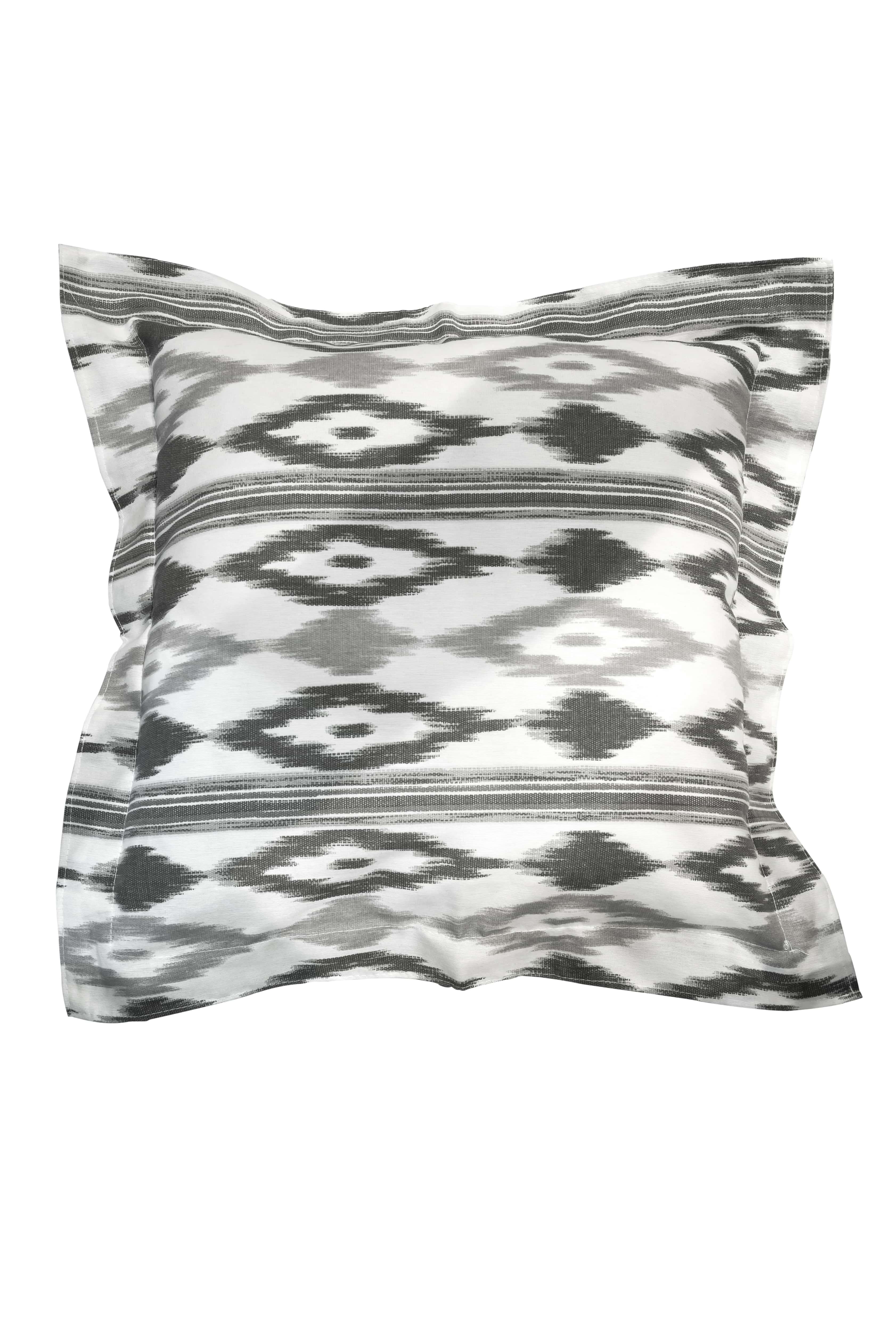 Black-white Ikat cushion
