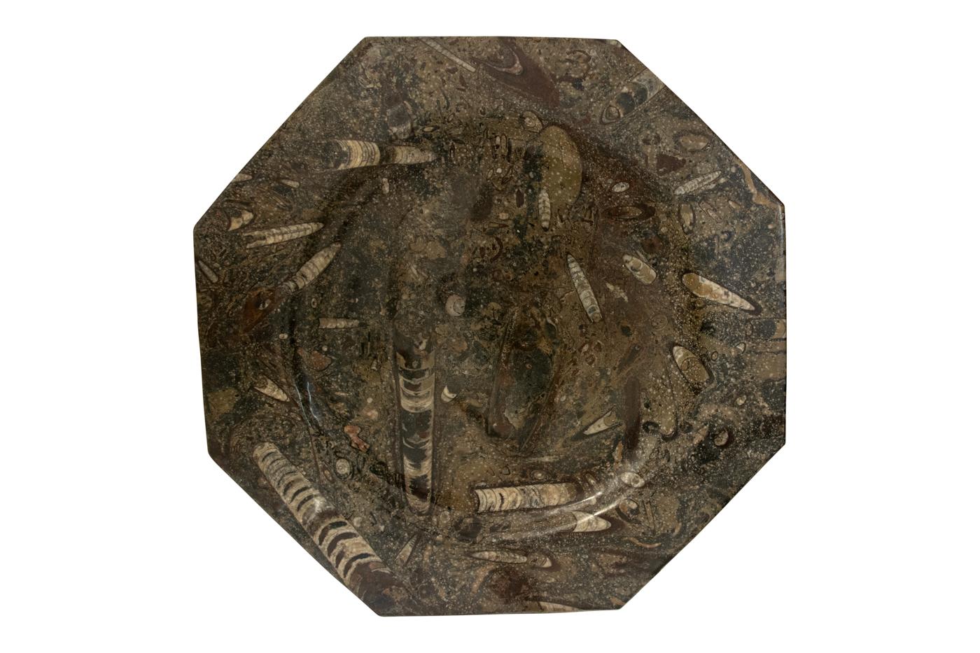 PLato fosilizizado Marruecos octagonal