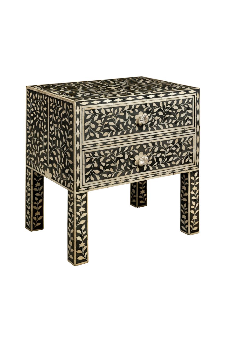 Mesa de noche diseño de arabesco en madera con incrustaciones de hueso