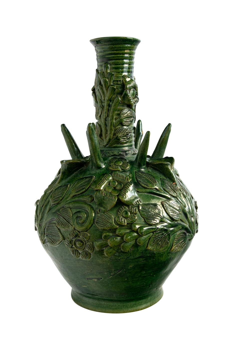 Mexican green ceramic tulip vase