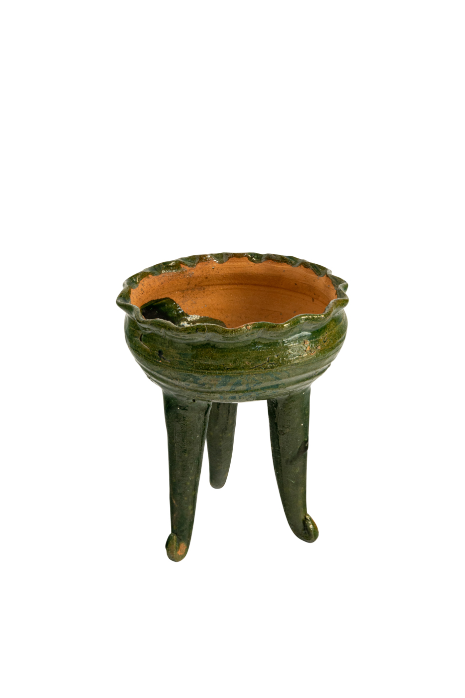 Mexican Candleholder in Green Ceramic