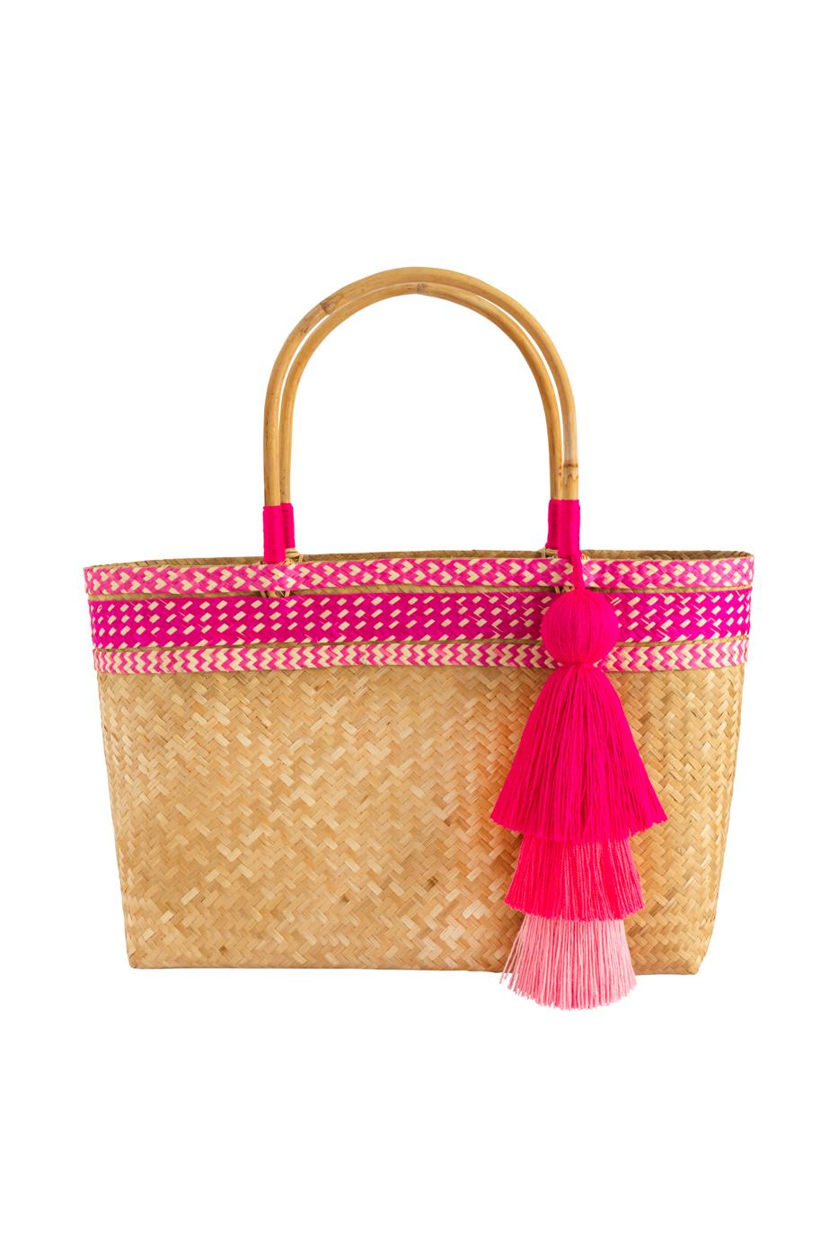 Fiber basket bag and fuchsia caña flecha