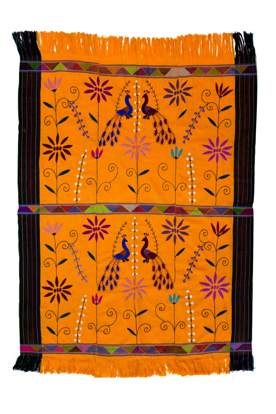 Mexican fabric in yellow backstrap loom