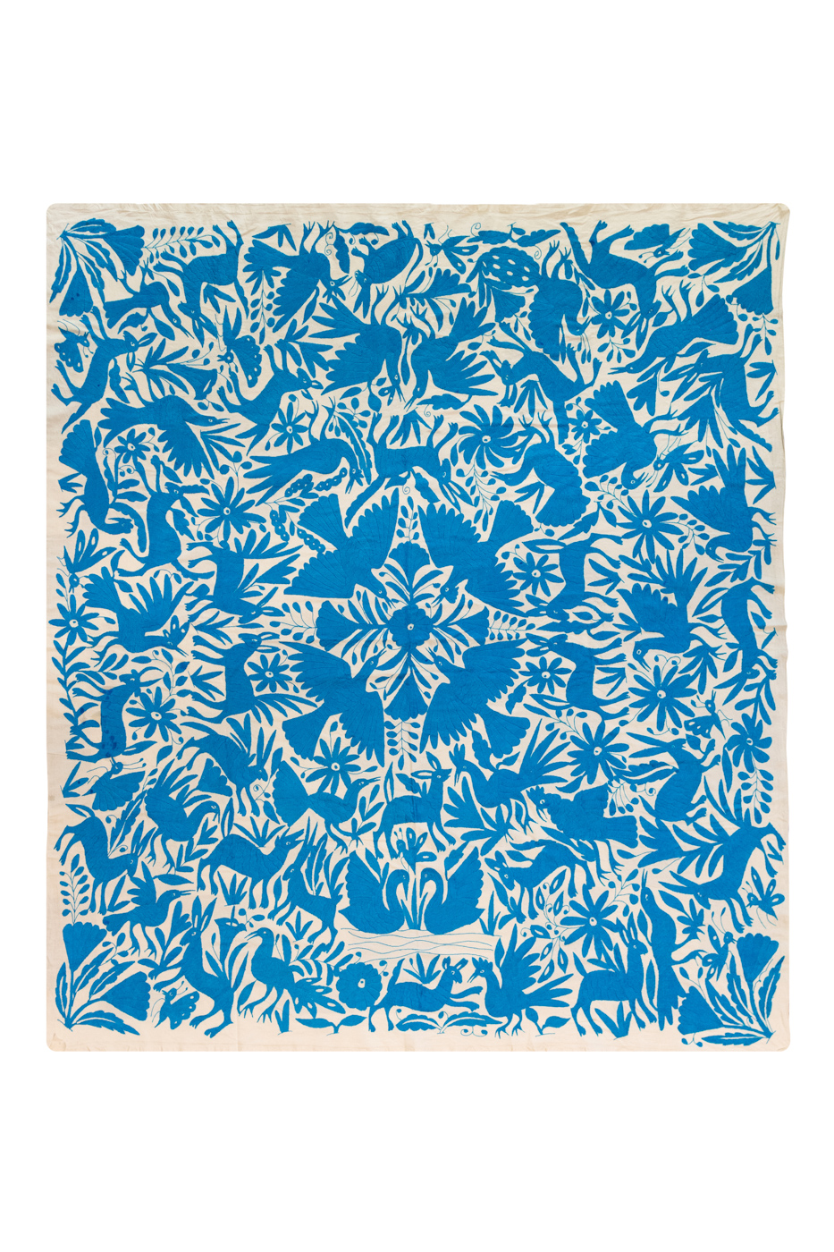 Mexican Otomí decorative fabric with blue birds