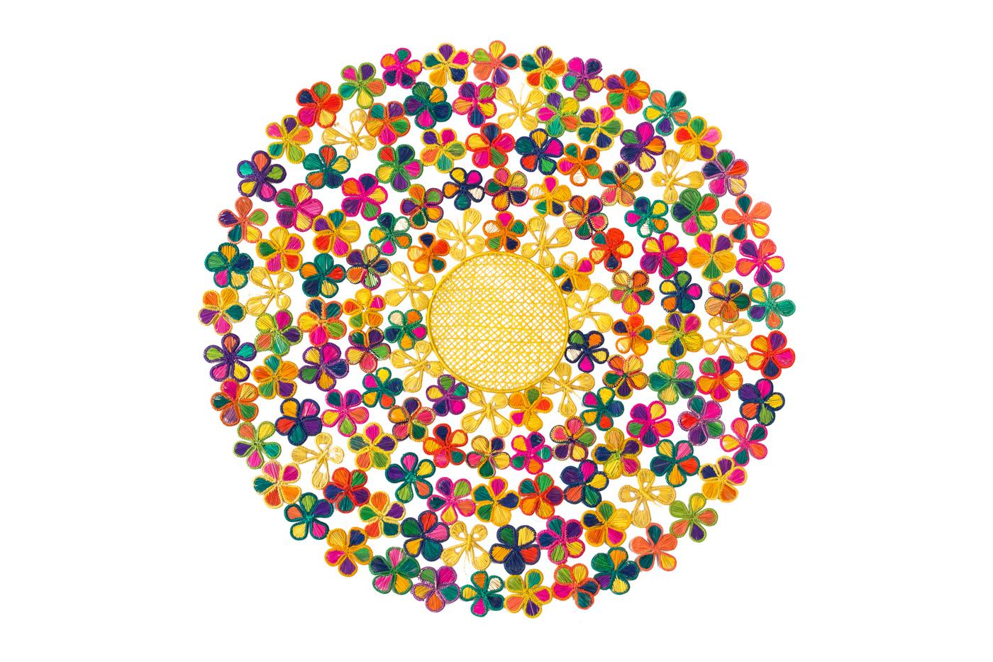 Tapete iraca flores multicolor