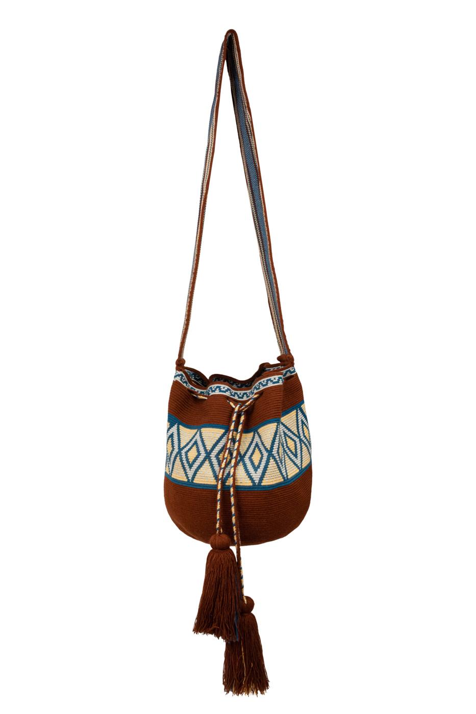 Mochila Wayuu rombos- marrón